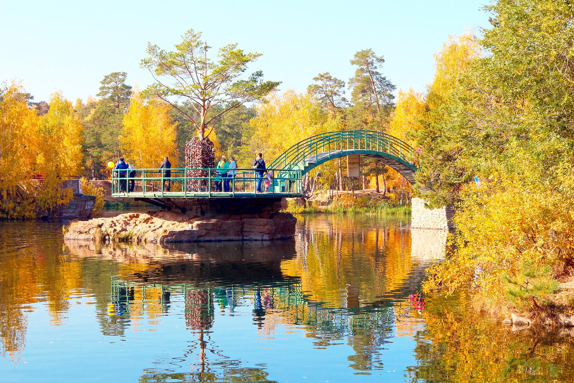 Ribnik v Parku Gagarina, osrednjem mestnem parku.