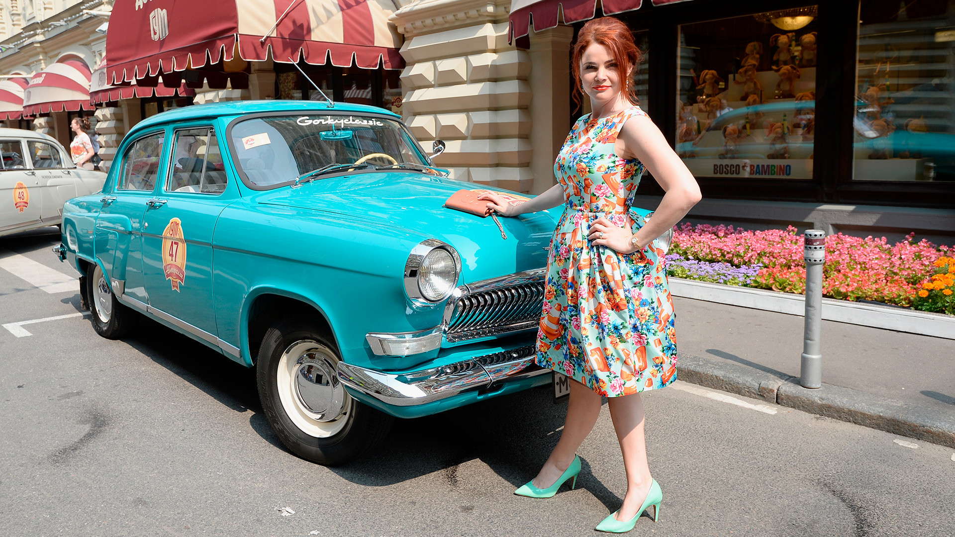 Gaz 21R Volga car before the 2016 Gorkyclassic GUM vintage car rally in Moscow.