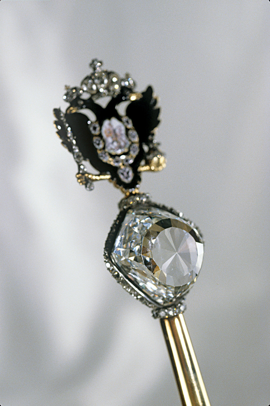 Imperial scepter made for Catherine the Great in the early 1770s. Topped by the Orlov diamond and a gold cast double-headed eagle.