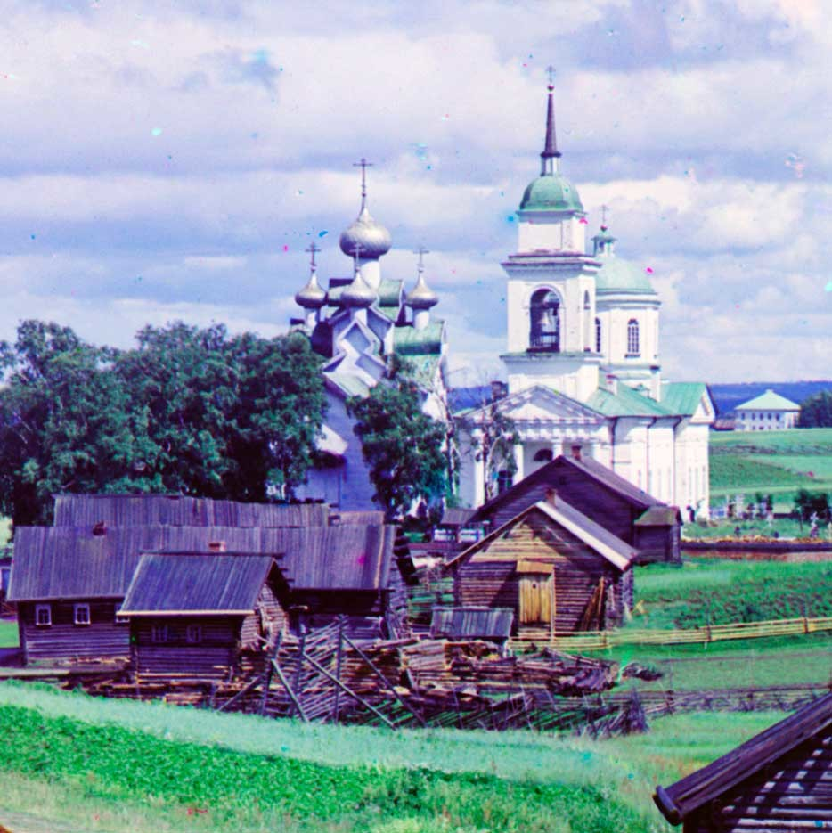 Paltoga. Church of the Epiphany (left)&Church of Icon of the Sign. West view.  Summer 1909.
