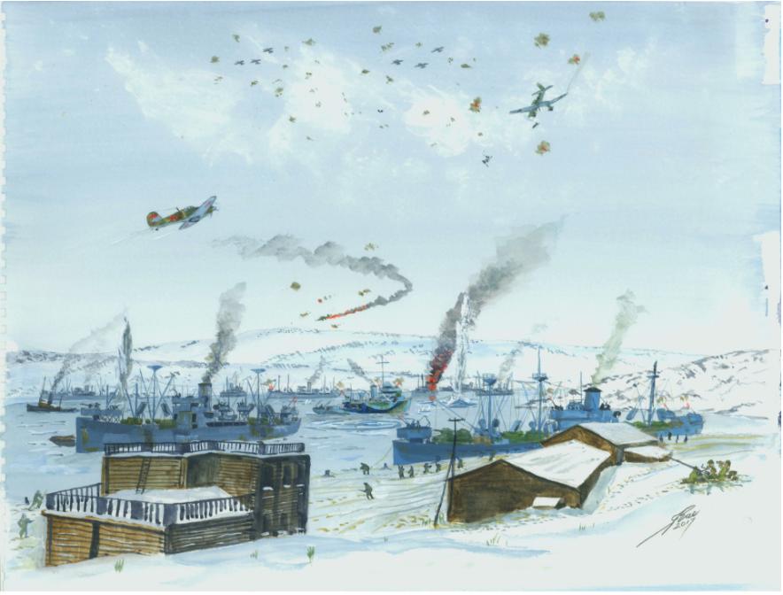 Napad nemških letal na doke v Murmansku.