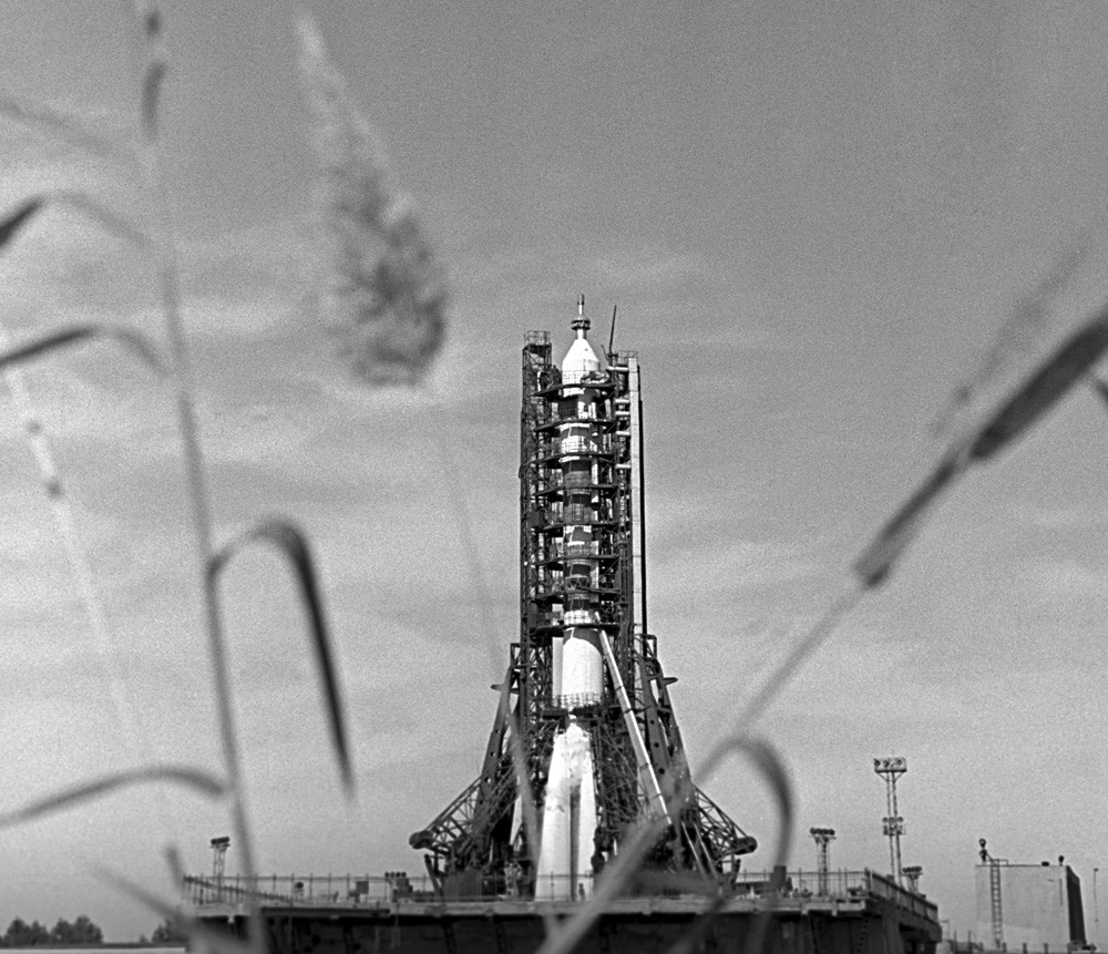 Rocket booster carrying the Soyuz 11 spaceship on its launch pad at the Baikonur Cosmodrome