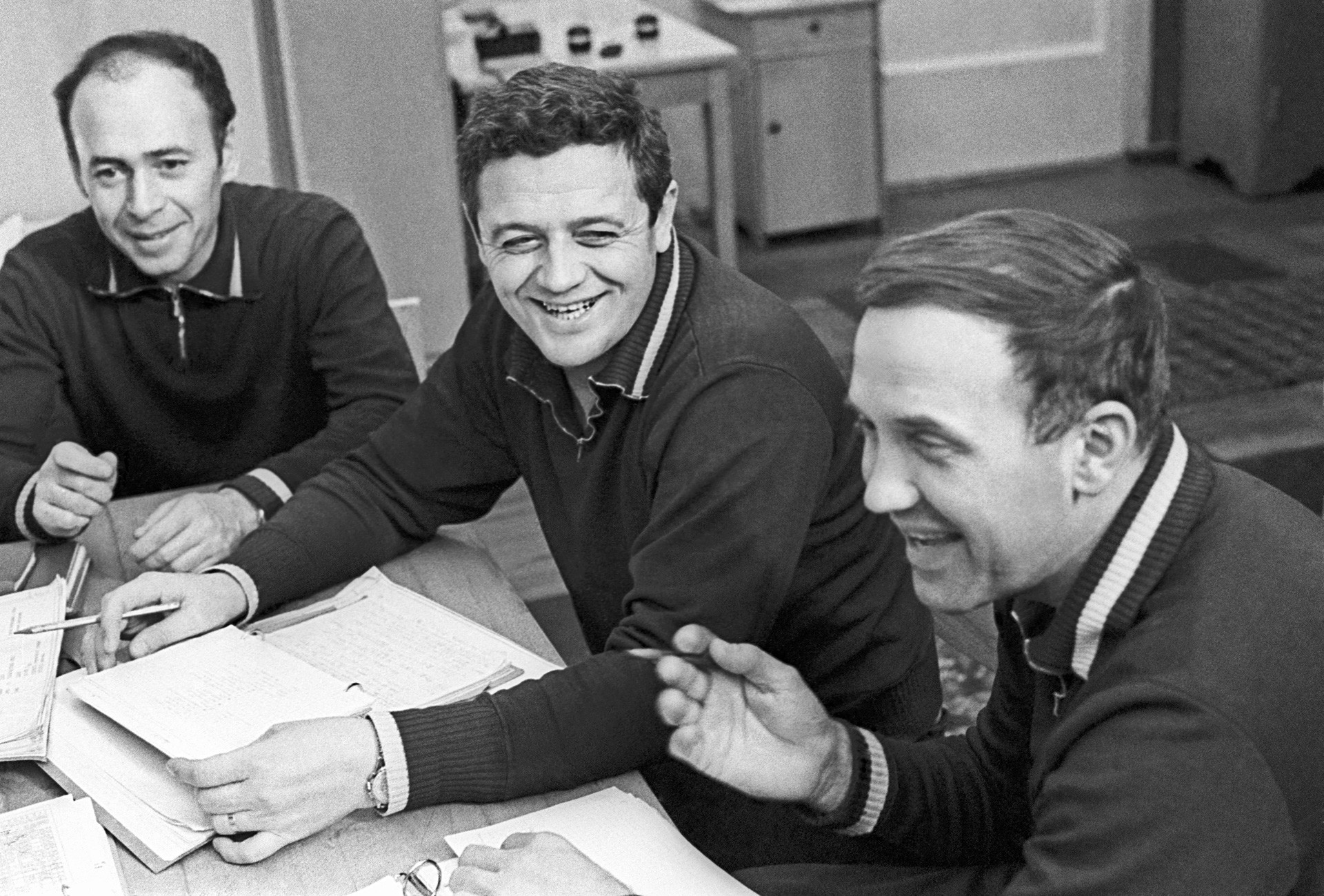 Soyuz 11 spaceship Test Engineer Viktor Patsayev, Flight Engineer Vladislav Volkov, and Crew Commander Georgy Dobrovolsky (L-R) after a training session inside a simulator