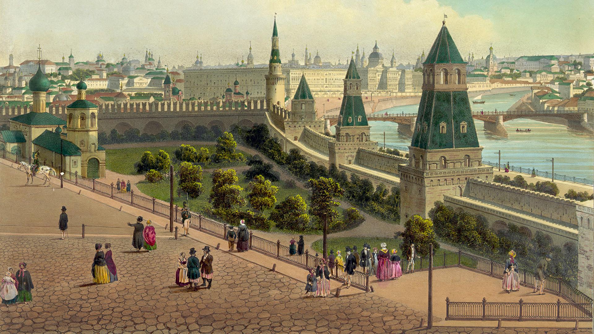 L'Orphelinat de Moscou (à partir d'une vue panoramique sur Moscou en 10 parties), 1848. Philippe Benoist