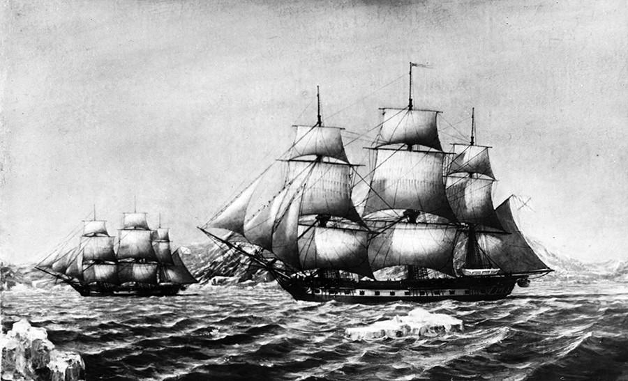 Los barcos rusos el Mirni y el Vostok.