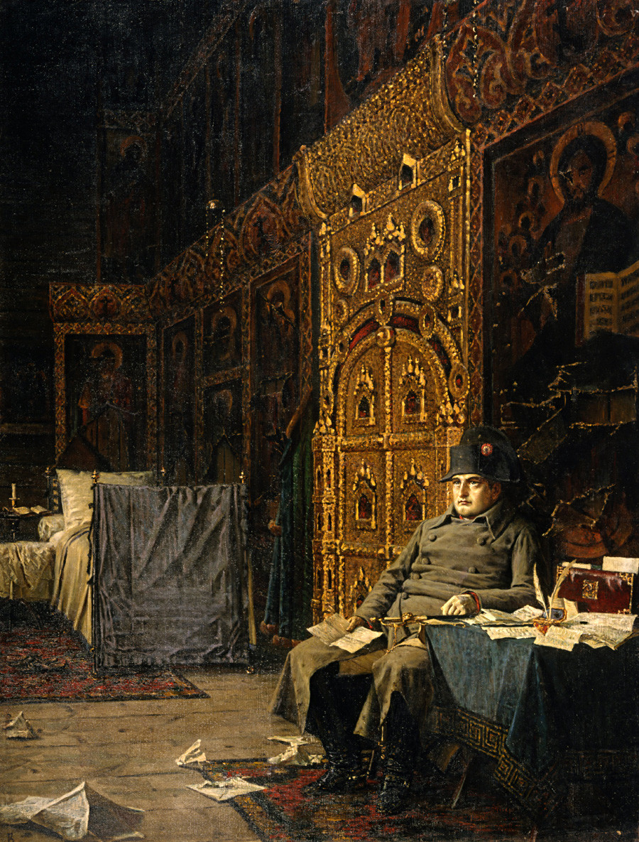 'On the way. Bad News from France' by Vasily Vereshchagin. Subdued Napoleon reading correspondence in a Russian Orthodox church