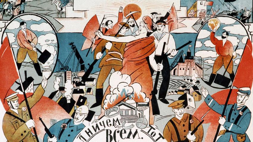 """""""A Internacional"""" (pôster soviético por artista desconhecido) representa o mundo como os comunistas o viam no século 20: uma determinada batalha de todas as nações contra os opressores capitalistas."""