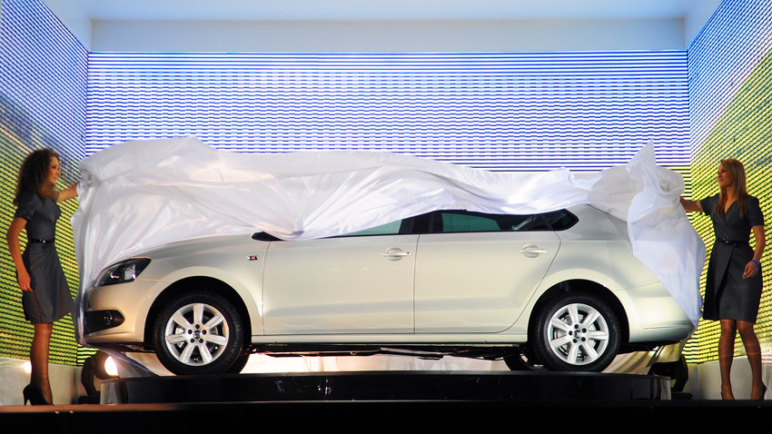 New sedan Volkswagen Polo is on display during the presentation.