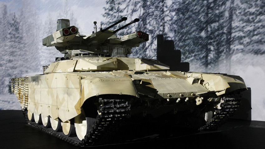 The vehicle was invented to protect tanks from rocket attacks in an urban environment