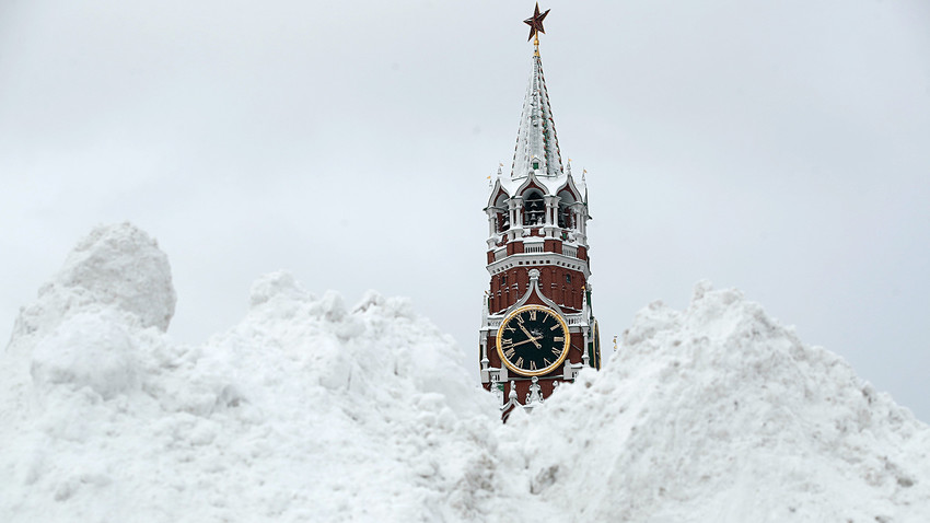 Snow covered Red Square and the Spasskaya Tower after a snowstorm in Moscow, Russia, Feb. 5, 2018.