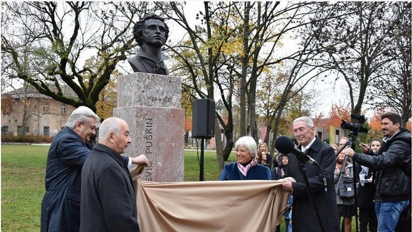 Slavnostno odkritje kipa ruskega pesnika Aleksandra Puškina, Ljubljana, 9. 11. 2017.