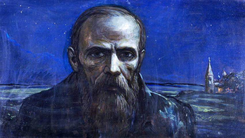 """""""Fiódor Dostoiévski. Noite"""". Obra do tríptico """"A lenda do grande inquisidor"""", de Iliá Glazunov, 1986."""