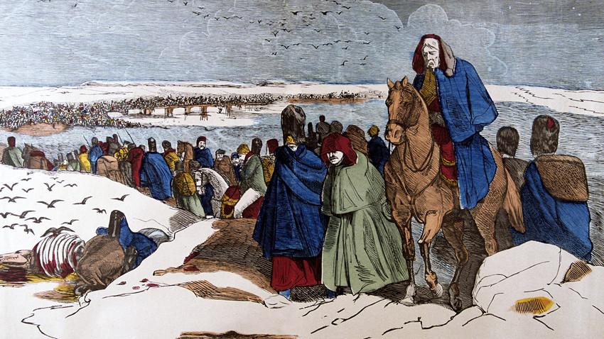 Las tropas de Napoleón se retiran de Rusia a través de la Berézina, entre el 26  y el 28 de noviembre de 1812. Un grabado francés en madera.