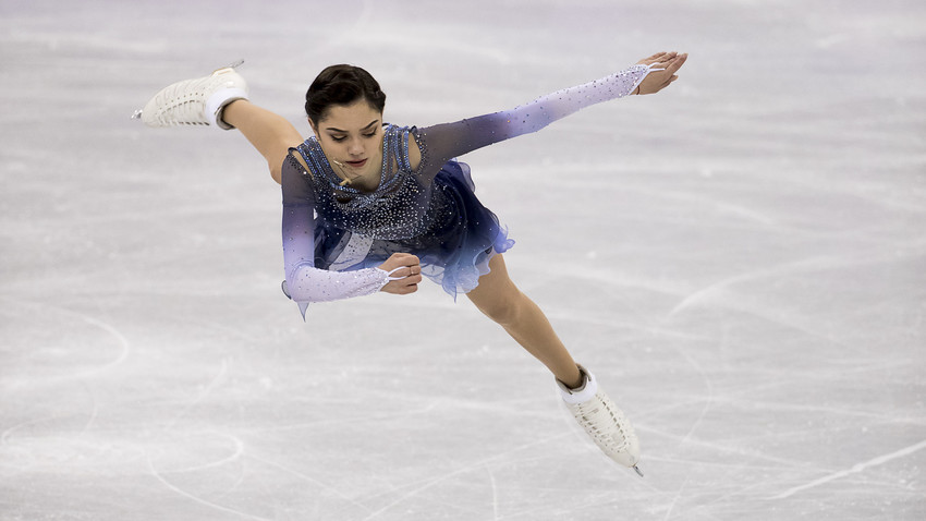 Evgenia Medvedeva of Olympic Athlete from Russia compete during the Team Event Ladies Single Skating Short Program at the PyeongChang 2018 Winter Olympic Games at Gangneung Ice Arena on Sunday February 11, 2018.