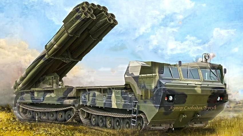 """Mogući izgled arktičke verzije VBR (RSZO) """"Smerč"""" u kal. 300 mm na platformi DT-30PM """"Vitez""""."""