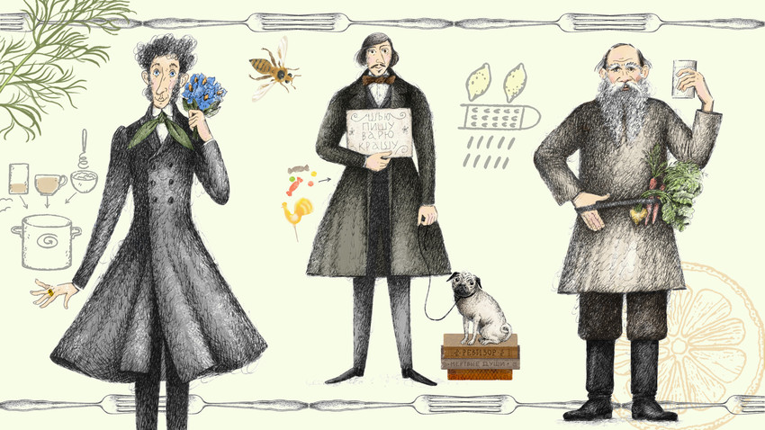 """""""Hering mit Kalbfleisch. Das Buch über Essen, Schriftsteller und Rezepte"""" von Eldar Orudschew. Buchillustrationen von Inna Bagaeva"""