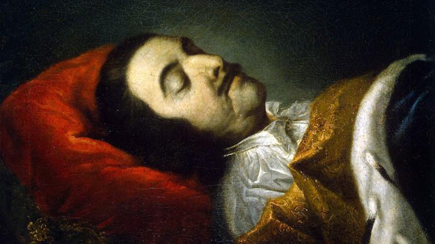 """""""O tsar [Pedro, o Grande] em seu leito de morte"""". Pintura de Johann Gottfried Tannauer. Pedro morreu de doença renal."""