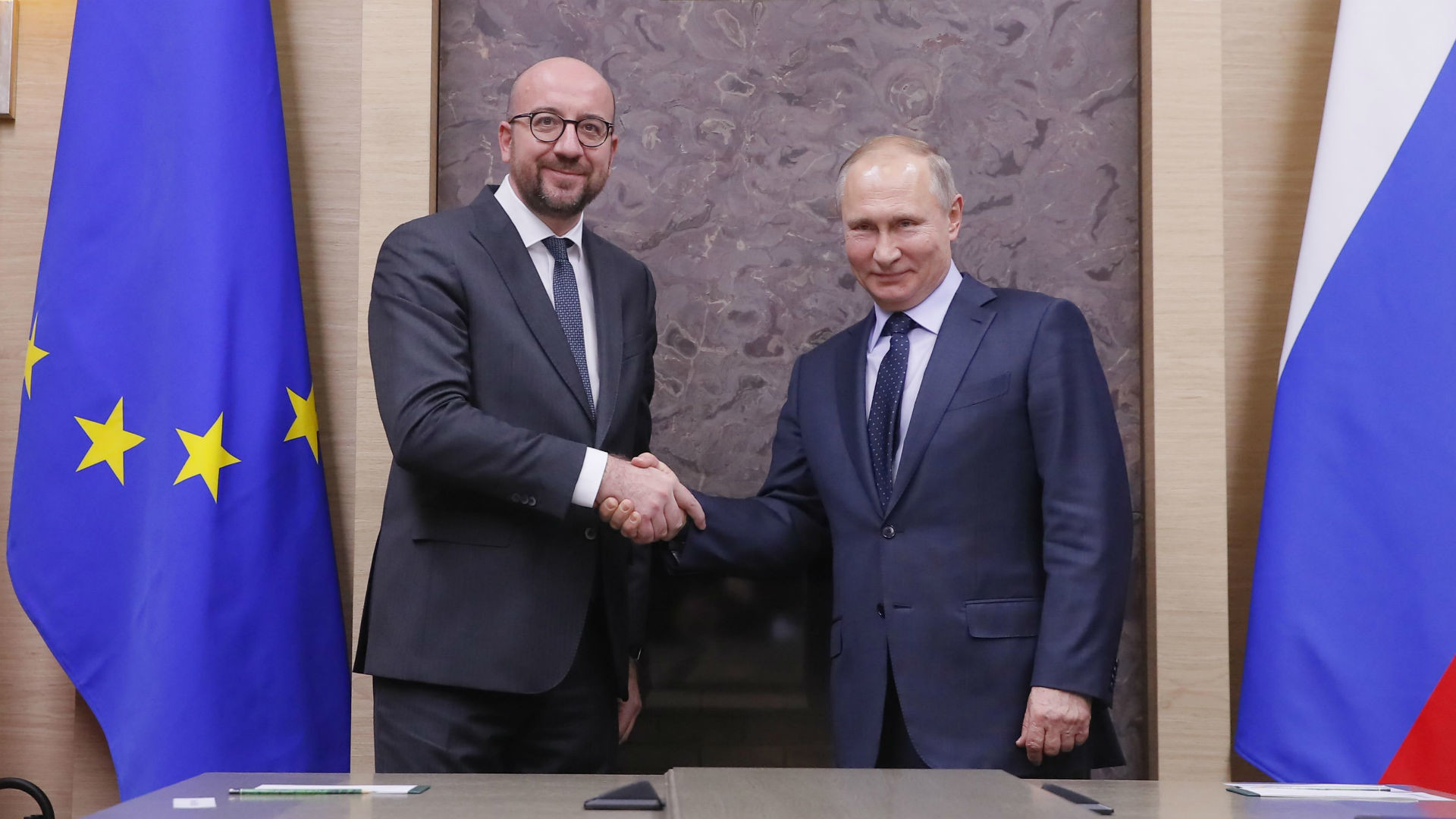 Charles Michel et Vladimir Poutine