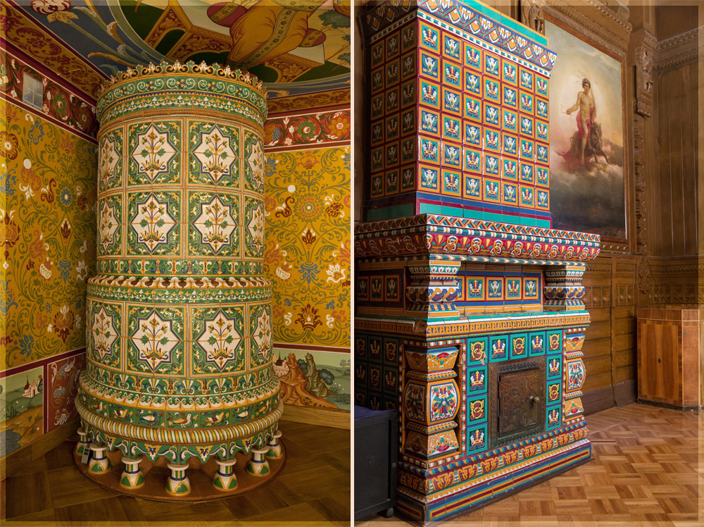 On the left: The stove from the Palace of Tsar Alexey Mikhailovich in Moscow. On the right: the stove from the Palace of Tsar Vladimir Alexandrovich in St. Petersburg. Both decorated with ceramic tiles.