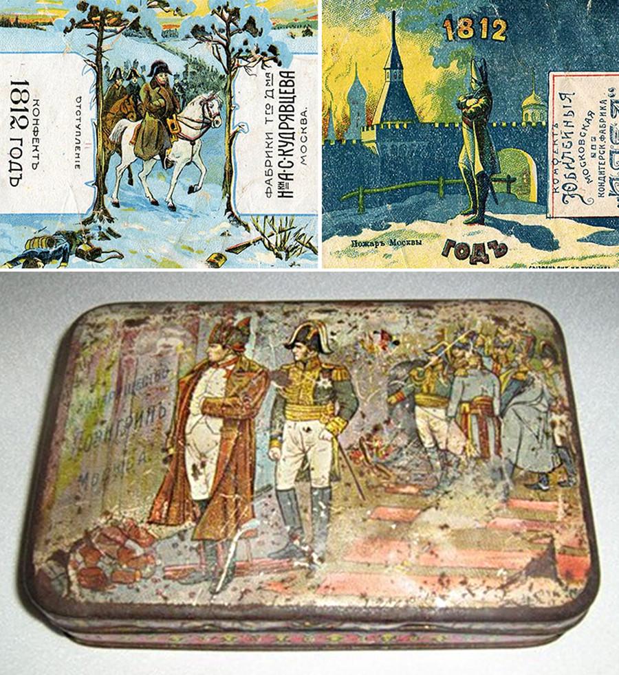 Cajas de los ducles rusos dedicados a Napoleón.