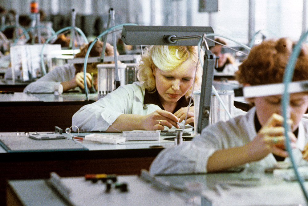 An assembly line of Uglich Watch-Making Factory named after 50th anniversary of the USSR. 1983
