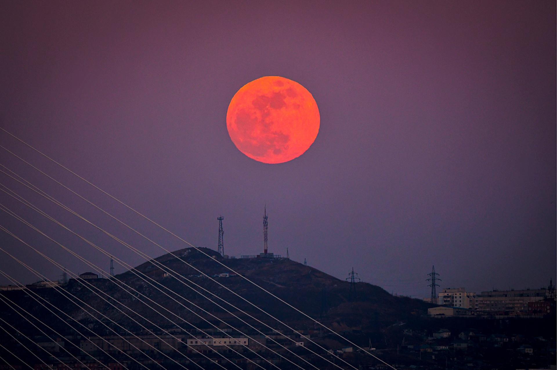 Puni crveni Mjesec se uzdiže iznad brda u Vladivostoku na Dalekom istoku Rusije u istovremenom spoju tri lunarna fenomena - Supermjeseca, krvavog Mjeseca i pomrčine Mjeseca. Vladivostok, Rusija.