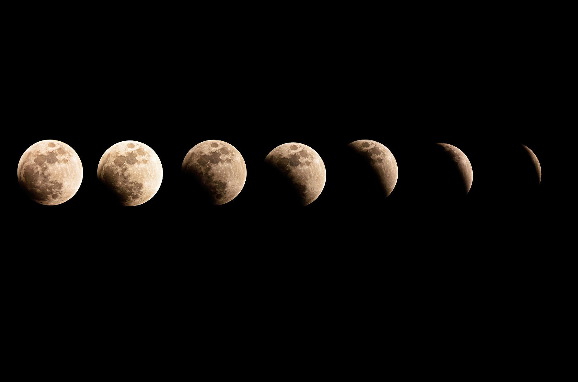 Fases de um eclipse lunar total durante uma Lua azul e superlua