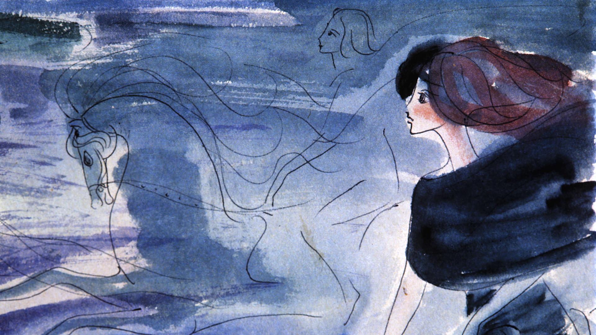Copia del dibujo de la última escena de ´El maestro y Margarita´ de Bulgákov, realizado por Nadia Rúsheva a los 16 años (1968).