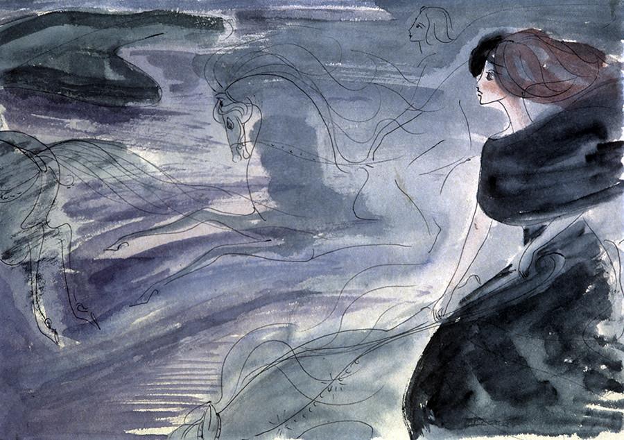 Copia del dibujo para la última escena de ´El maestro y Margarita´, realizado por Nadia Rúsheva a los 16 años (1968).