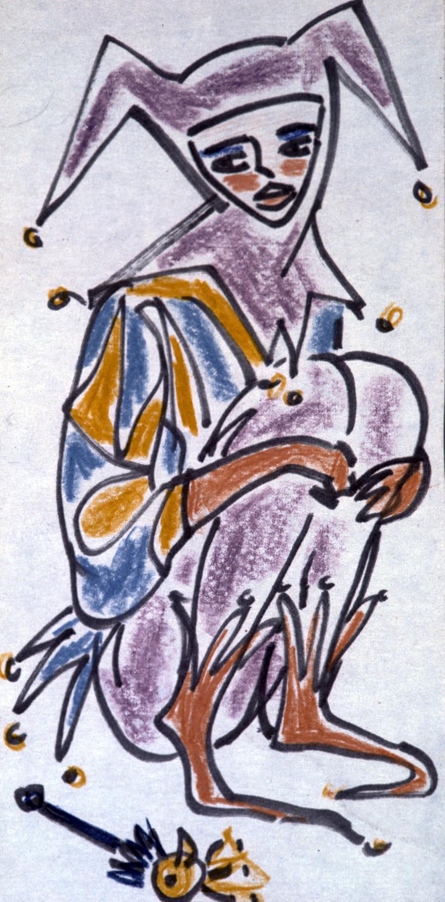 """""""Bobo"""", uma das pinturas de Nádia Rucheva para as obras de Shakespeare, 1968."""