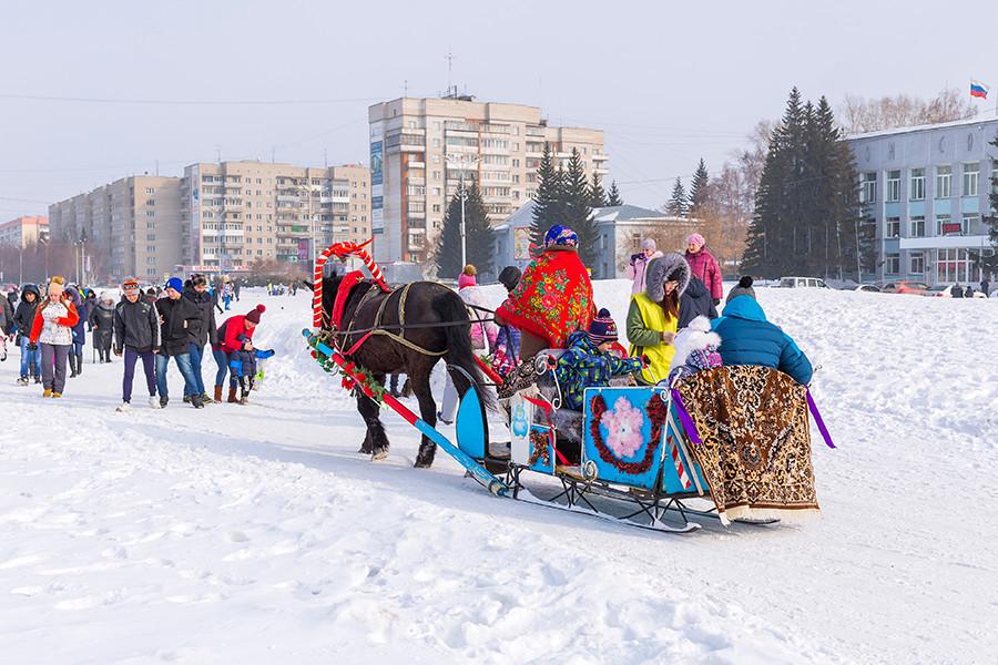 Passeio de trenó no Kolomenskoye