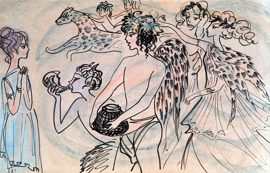 Bacchus und Nymphe