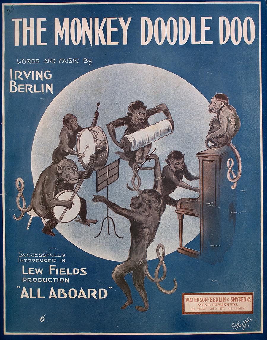 """Poster promosi lagu 'The Monkey Doodle Doo', dengan catatan kepengarangan asli bertuliskan """"Lirik dan Musik oleh Irving Berlin"""", AS, 1913."""