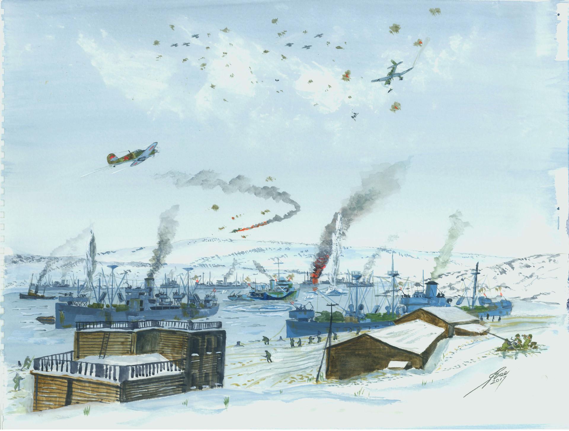 Deutsche Stukas (Sturzkampfflugzeuge) attackieren den Konvoj am Hafen von Murmansk.