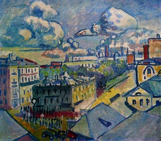 Skica iz leta 1916 s pogledom na Zubosvki trg, Moskva