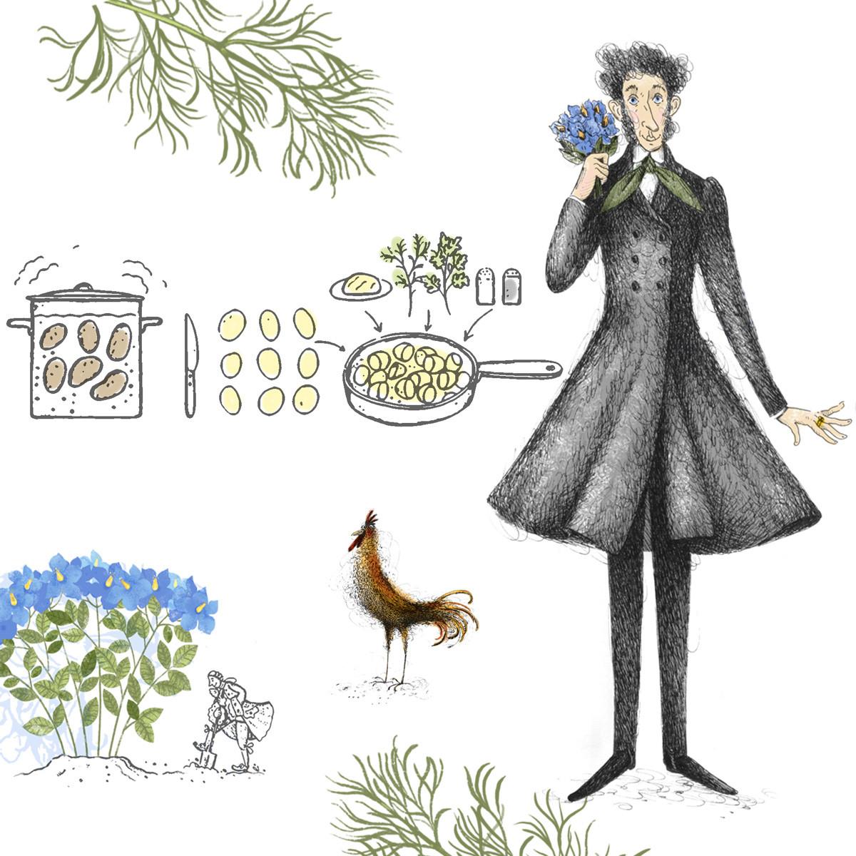 """""""Харинга с телетином. Књига о храни, писцима и рецептима"""", Ељдар Оруџев. Илустратор: Ина Багајева."""