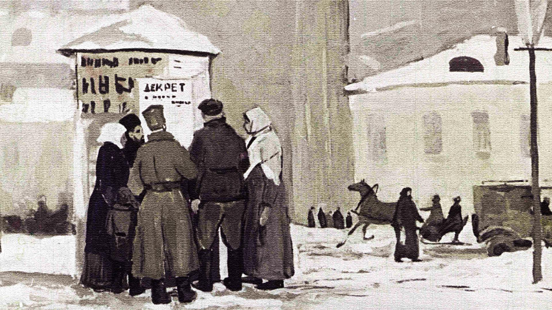 Sebuah lukisan yang menunjukkan orang-orang berkumpul untuk membaca salah satu keputusan yang dikeluarkan kaum Bolshevik.