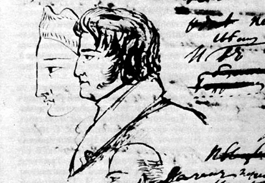 Fyodor Tolstoy. Drawing by Alexander Pushkin