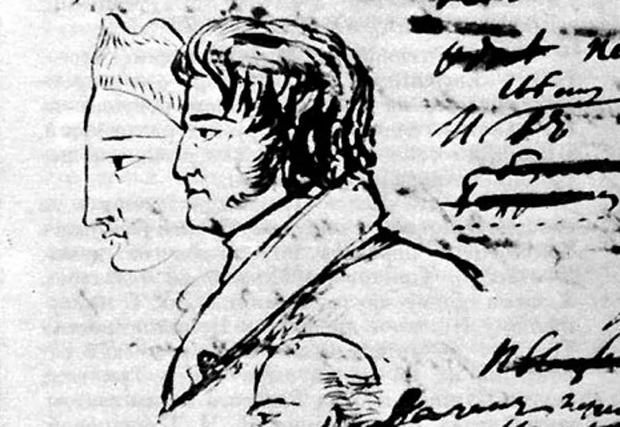 Fyodor Tolstoy. Drawing by Alexander Pushkin