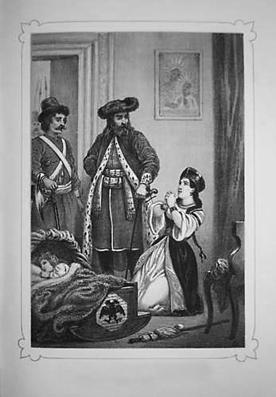 イワン6世の拘束(1850年代の画像)。