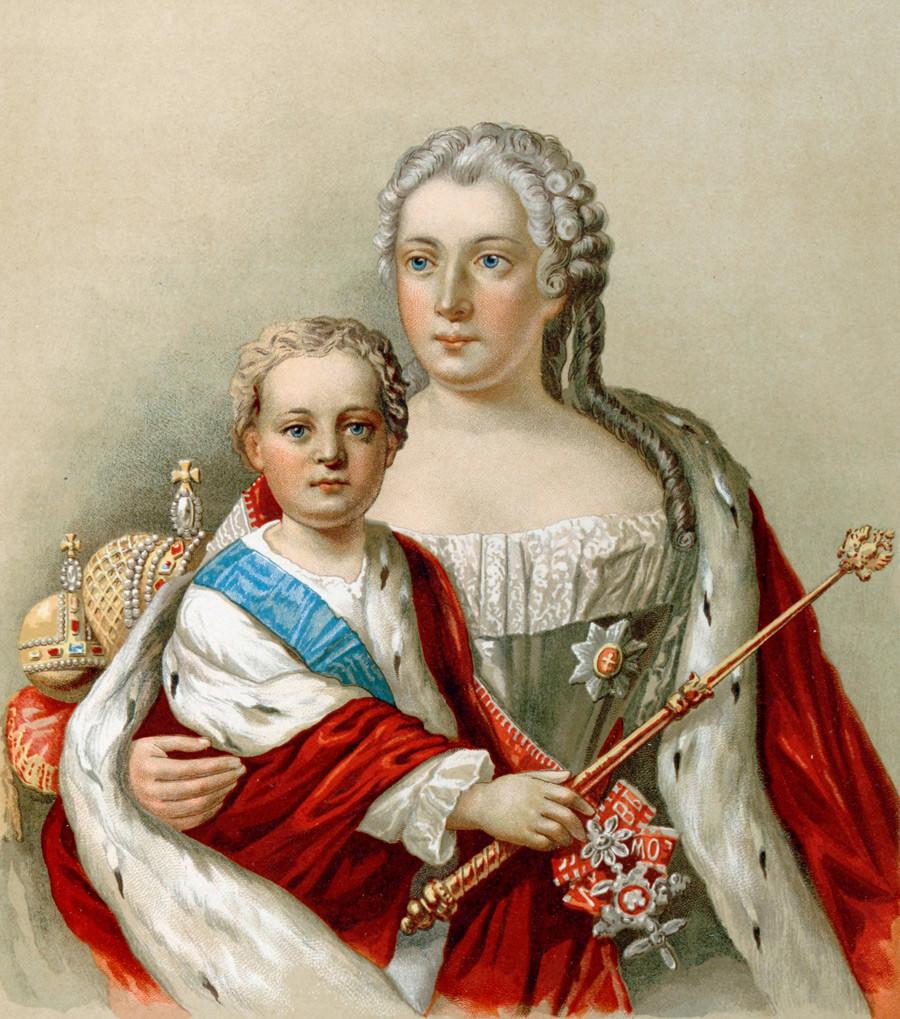Iván VI con su madre Ana Leopóldovna.