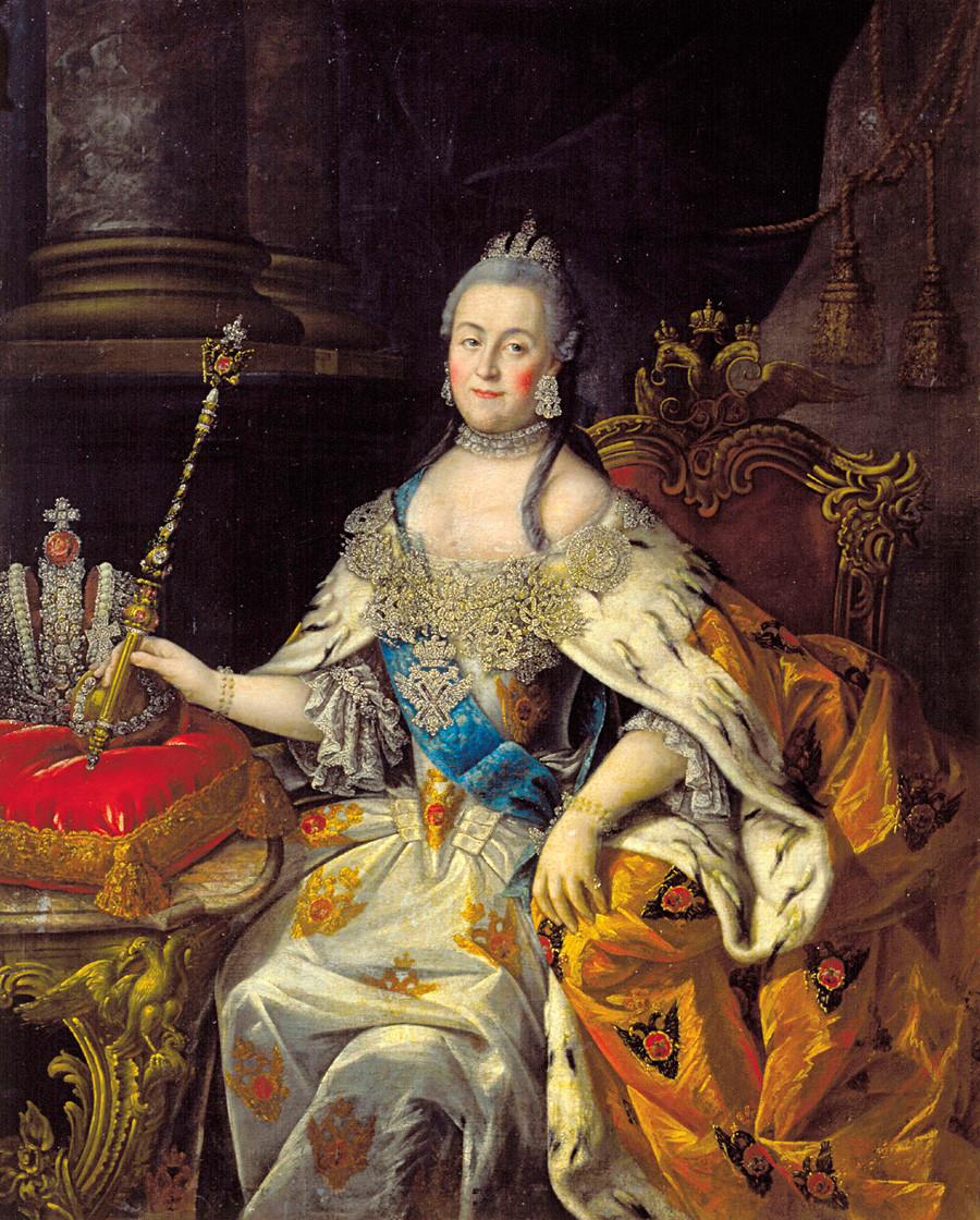 Retrato de Catalina II, obra de Alexéi Antrópov, 1766.