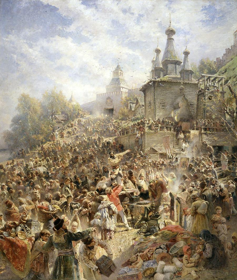 ミーニンがニジニ・ノヴゴロドの住民に哀願する。コンスタンチン・マコーフスキー画