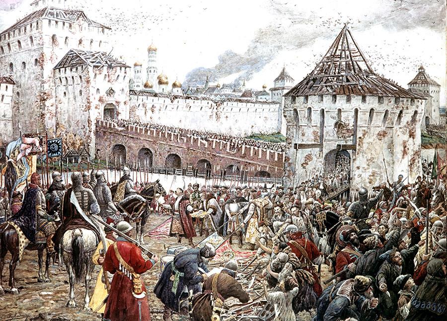 ポーランド兵はモスクワのクレムリンを退却している。エルヌスト・リスネル画