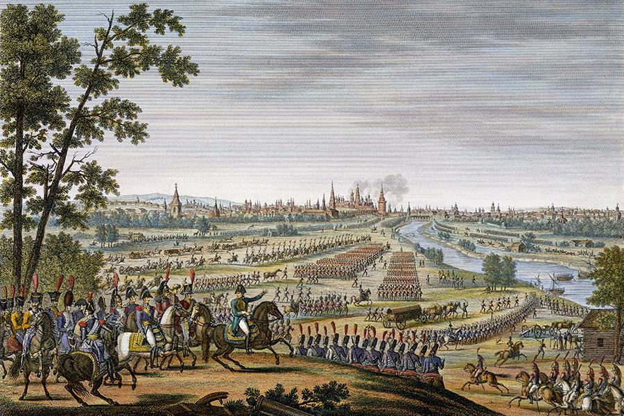 Napoleonova vojska vkoraka v Moskvo, 14.9.1812, naslikal Edme Bovinet.
