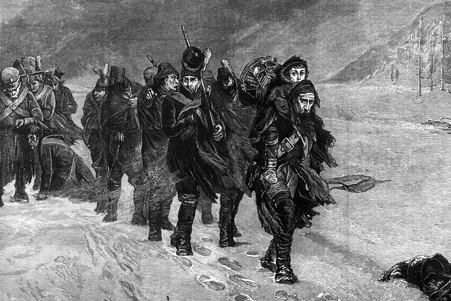 Umikanje Francozov iz Moskve, naslikal L. J. Pott