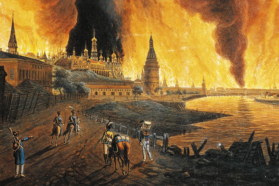 Napoleonova vojska vstopa v gorečo Moskvo, naslikal Boulogne-Billancourt.