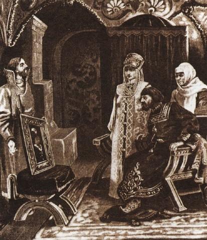 Viktor Mujžel, Veleposlanik Ivan Frezin carju Ivanu III. kaže portret njegove neveste Sofije Paleolog, pred 1924.