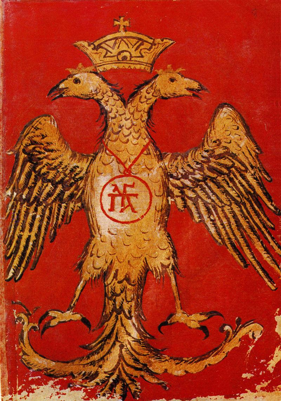 Grb dinastije Paleologov, zadnjih bizantinskih vladarjev, 15. stoletje.