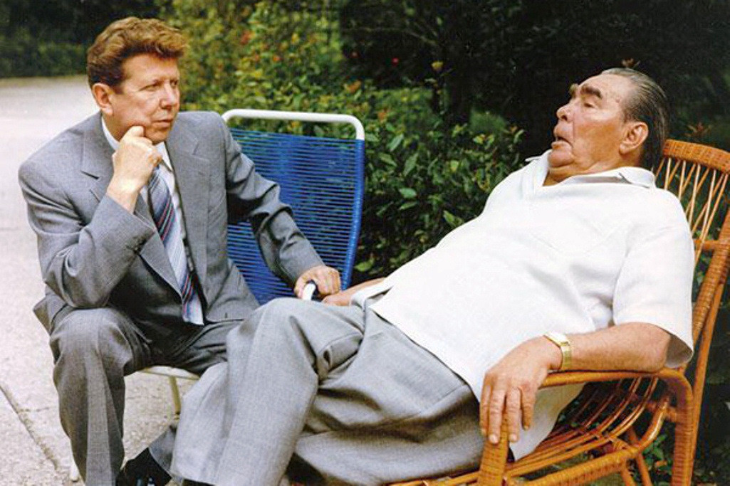 For years Leonid Brezhnev, sick and constantly exhausted, was accompanied everywhere by his private doctor Yevgeniy Chazov (L).